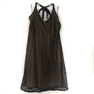 Judith March Halter Dress Black Crochet Backless